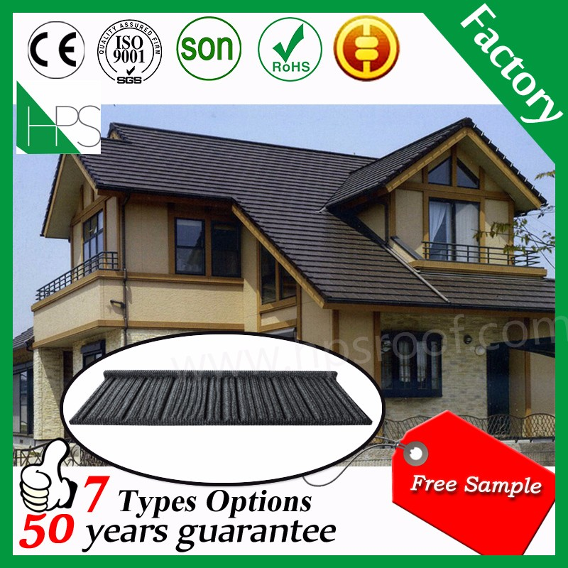 Guangzhou China manufacture color stone coated metal roof tile