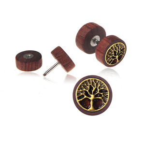 Cheap And High Quality Life Tree On Wood Studs Double Sides Mens Screw Back Earrings