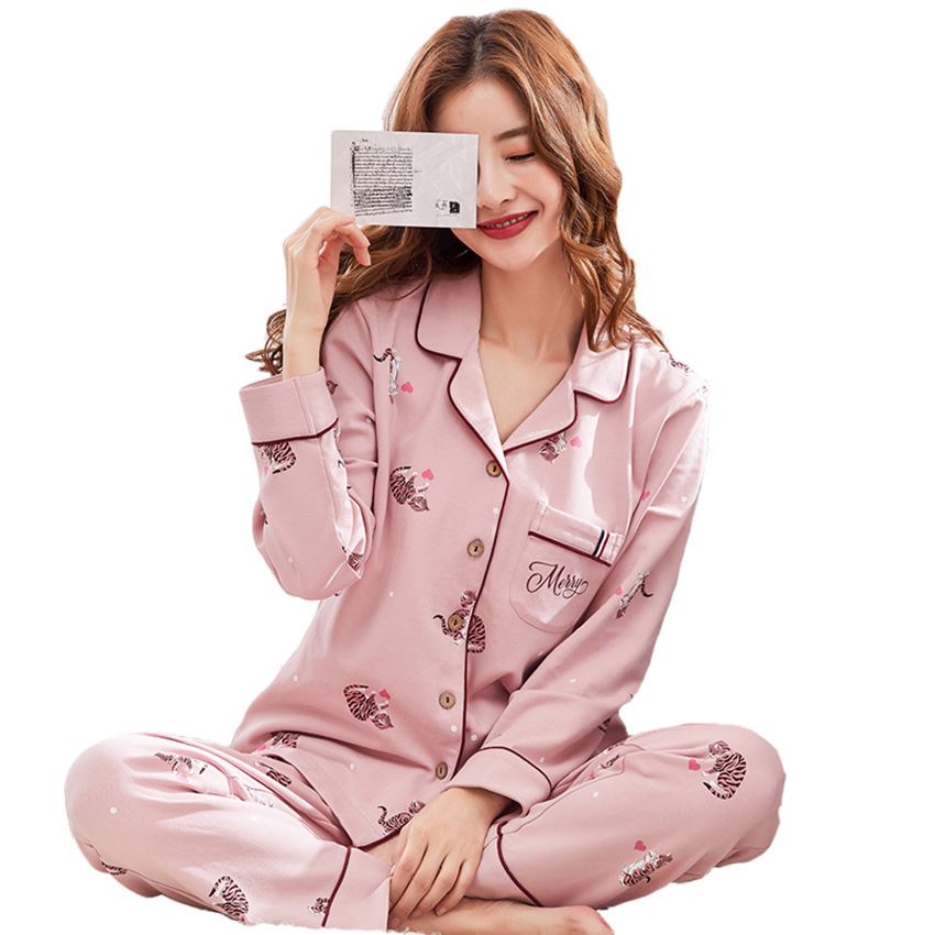 Lady sleeping wear womens winter long sleeve pajama manufacturer China wholesale organic cotton pajamas women