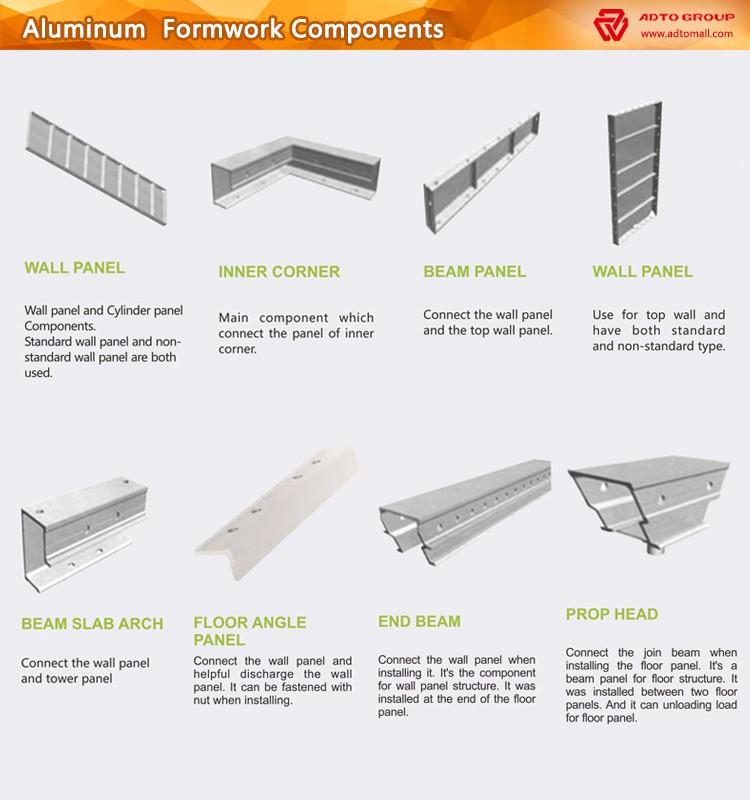 Aluminum Shoring Concrete : Adto top sell aluminium concrete forms sale
