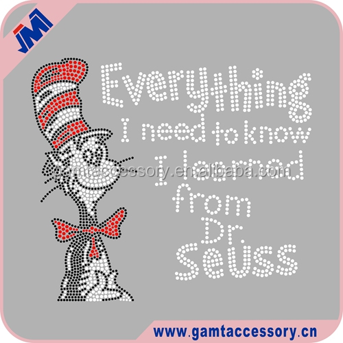 Custom Cartoon Dr seuss Iron On Rhinestone heat transfer for garments