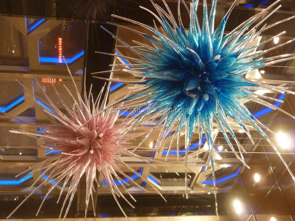Contemporary Creative Glass Balls Many Color Large Hotel Ceiling Hanging  Hand Blown Glass Art Floor Sculpture