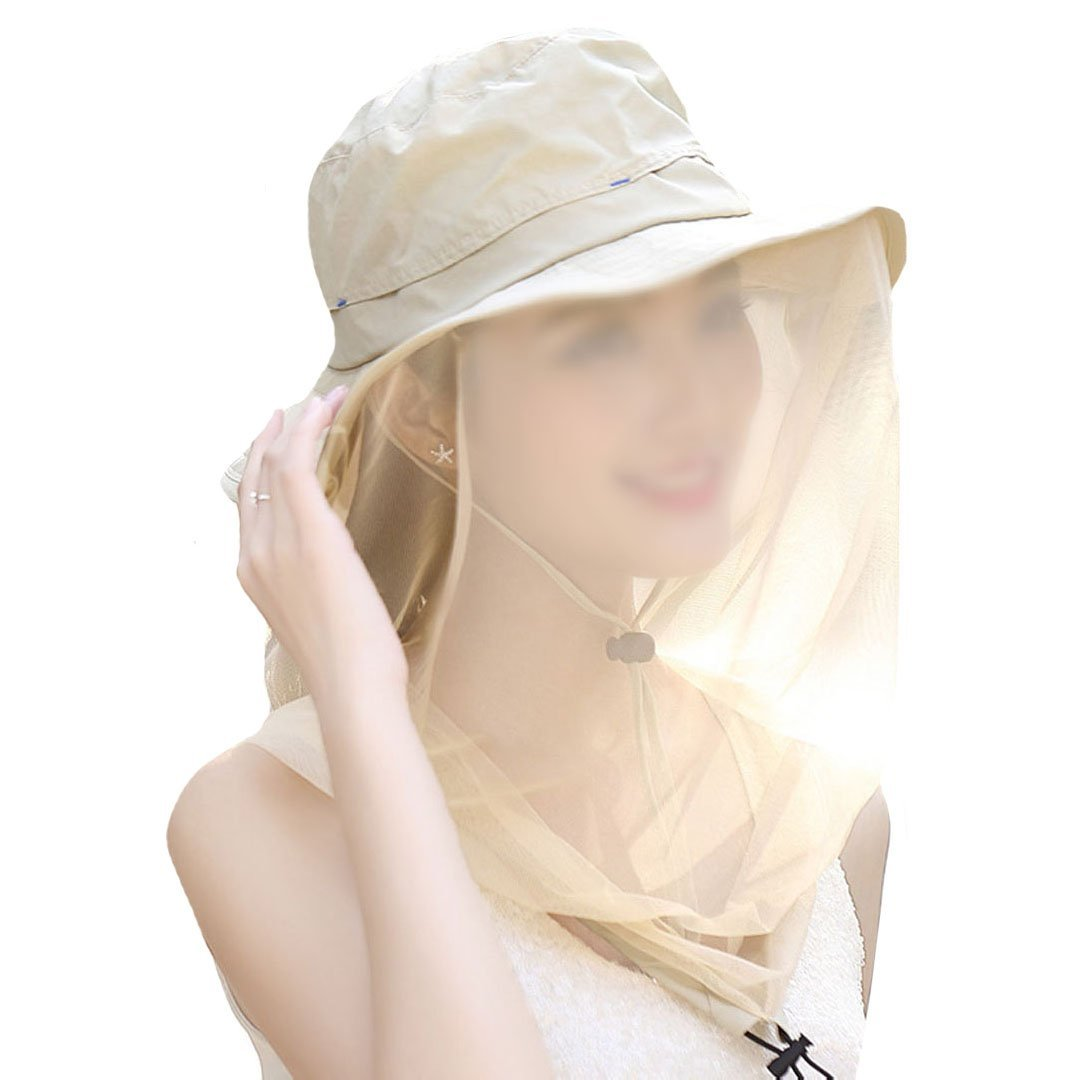 01ce27e22eb Olivia Outdoor Anti-mosquito Mask Hat Wide Brim Summer Sun Flap Cap Hat  Double-