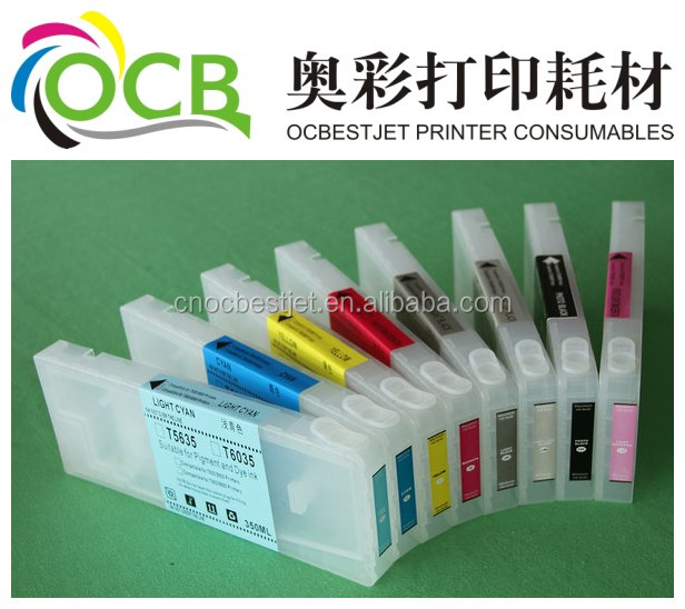 Refillable inkjet cartridge, with permanent chip for Epson 7800/9800 funnel for free