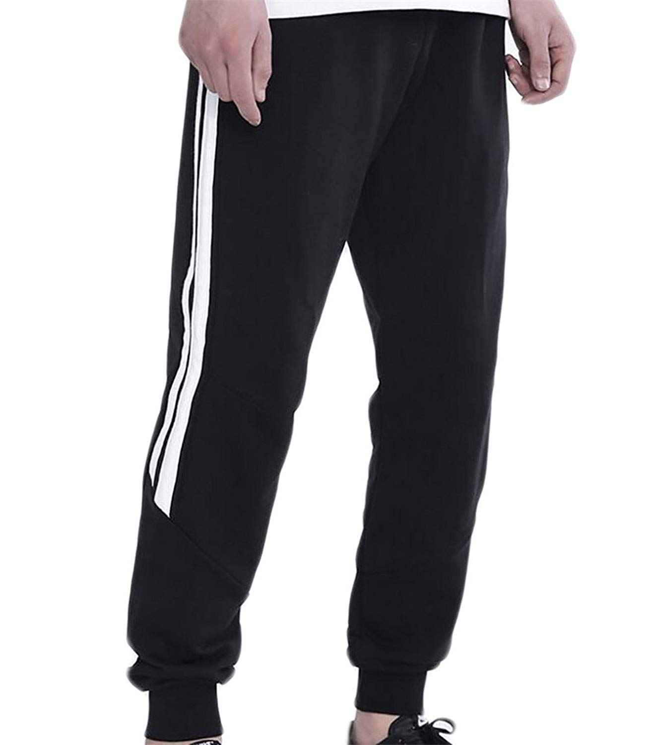 WSPLYSPJY Mens Casual Elastic Waist Solid Stretch Cargo Pants Trousers