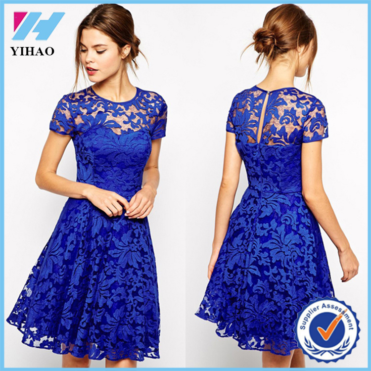 342222cd6107c Wholesale 2016 Evening designs knee length short clothes latest formal blue  lace dress patterns for women