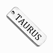 Rectangle Style Taurus Message Tags Charm Personalized Custom Jewelry