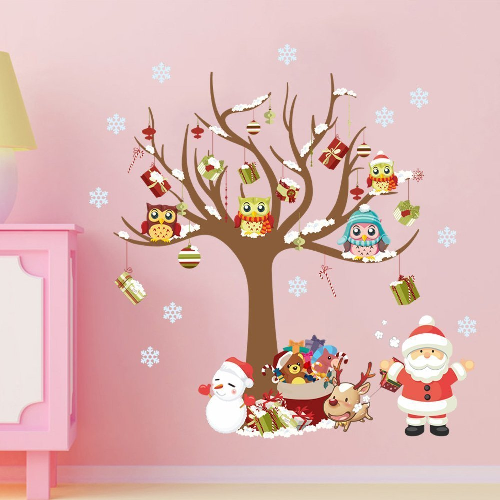 Christmas Wall Decals Removable.Buy Peicees Merry Christmas Wall Stickers Santa Claus Owls