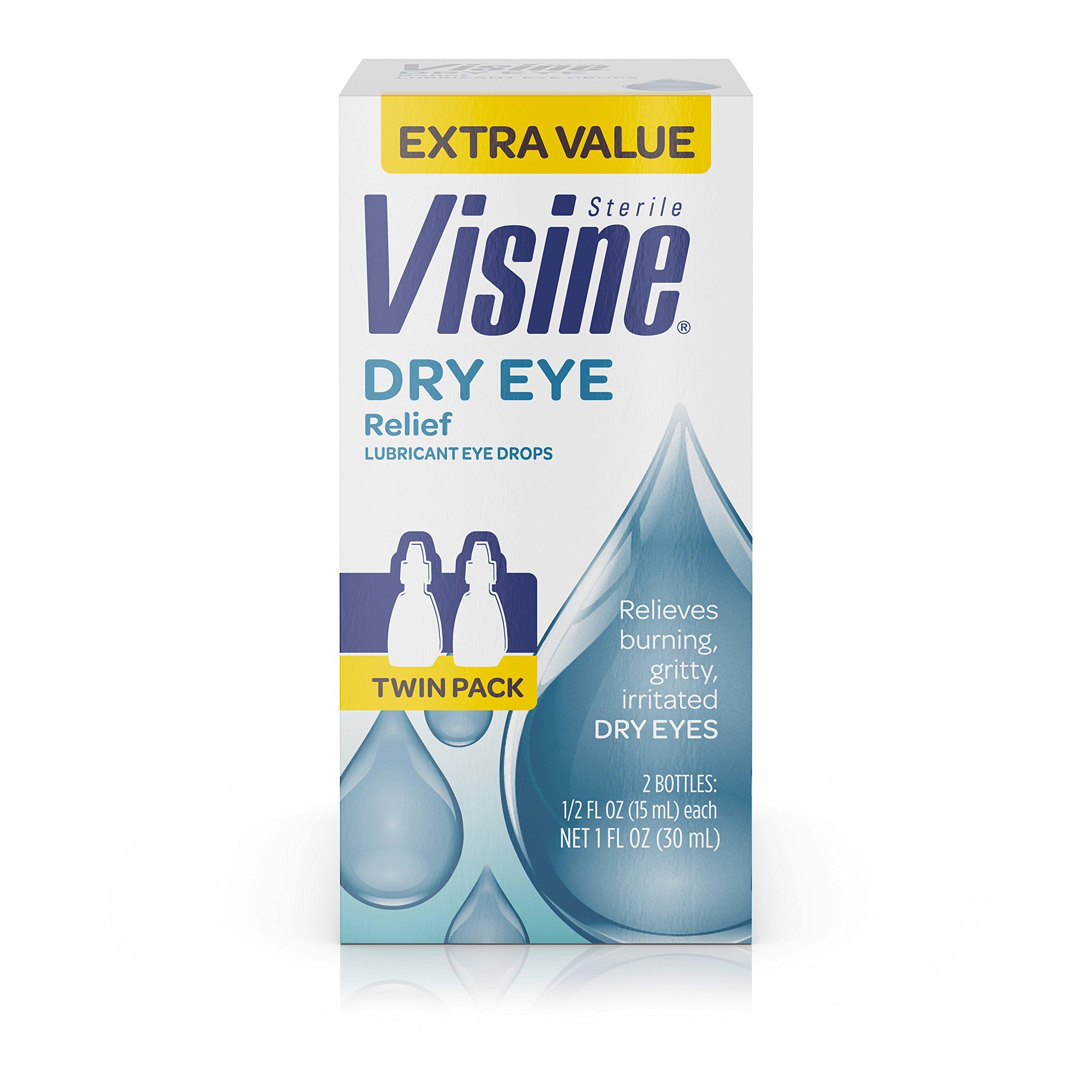 Visine Tears Dry Eye Relief Lubricant Eye Drops.5 Fl. Oz (Pack Of 2)