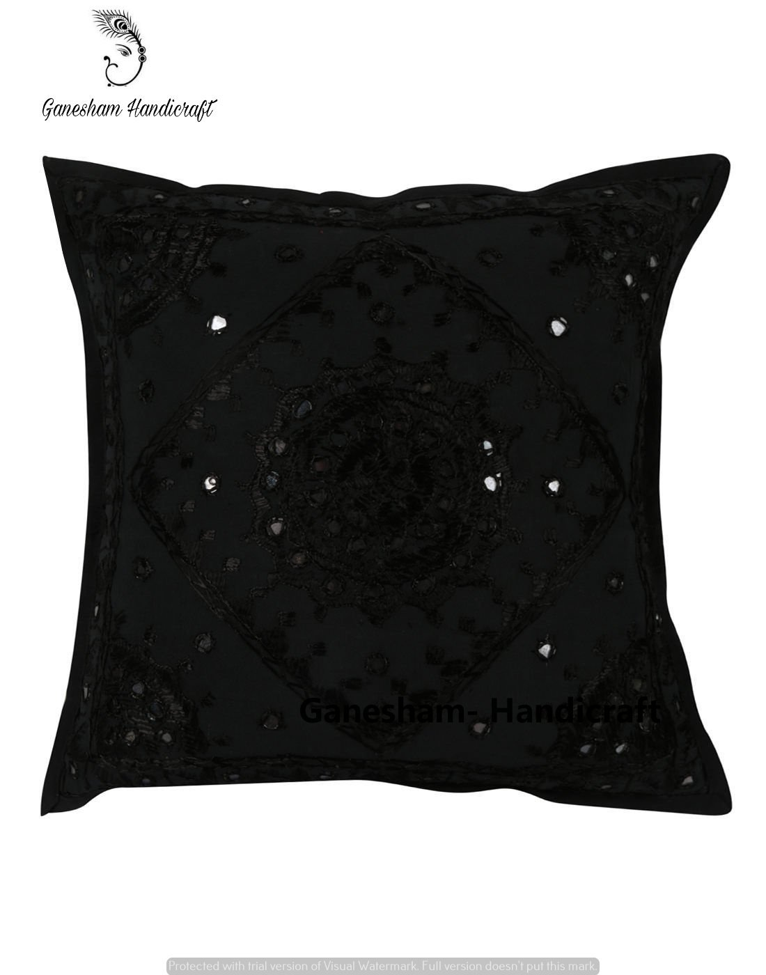 632058a396 Get Quotations · Ganesham Handicraft - Indian Bedroom Decor Cotton Pillow  Cover , Bohemian Throw Pillow Insert Hand Embroidered