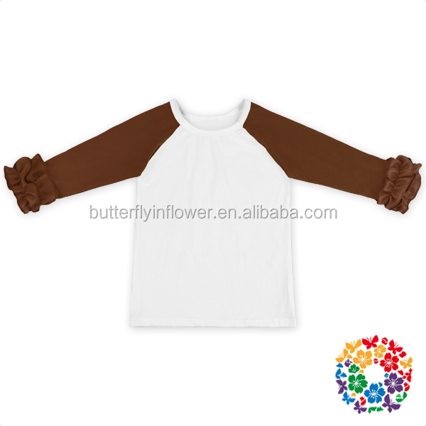 Fashion custom made Infant toddler Cotton Soft 3/4 Brown Sleeves White Body Raglan baby kids t shirt for 0-6 y