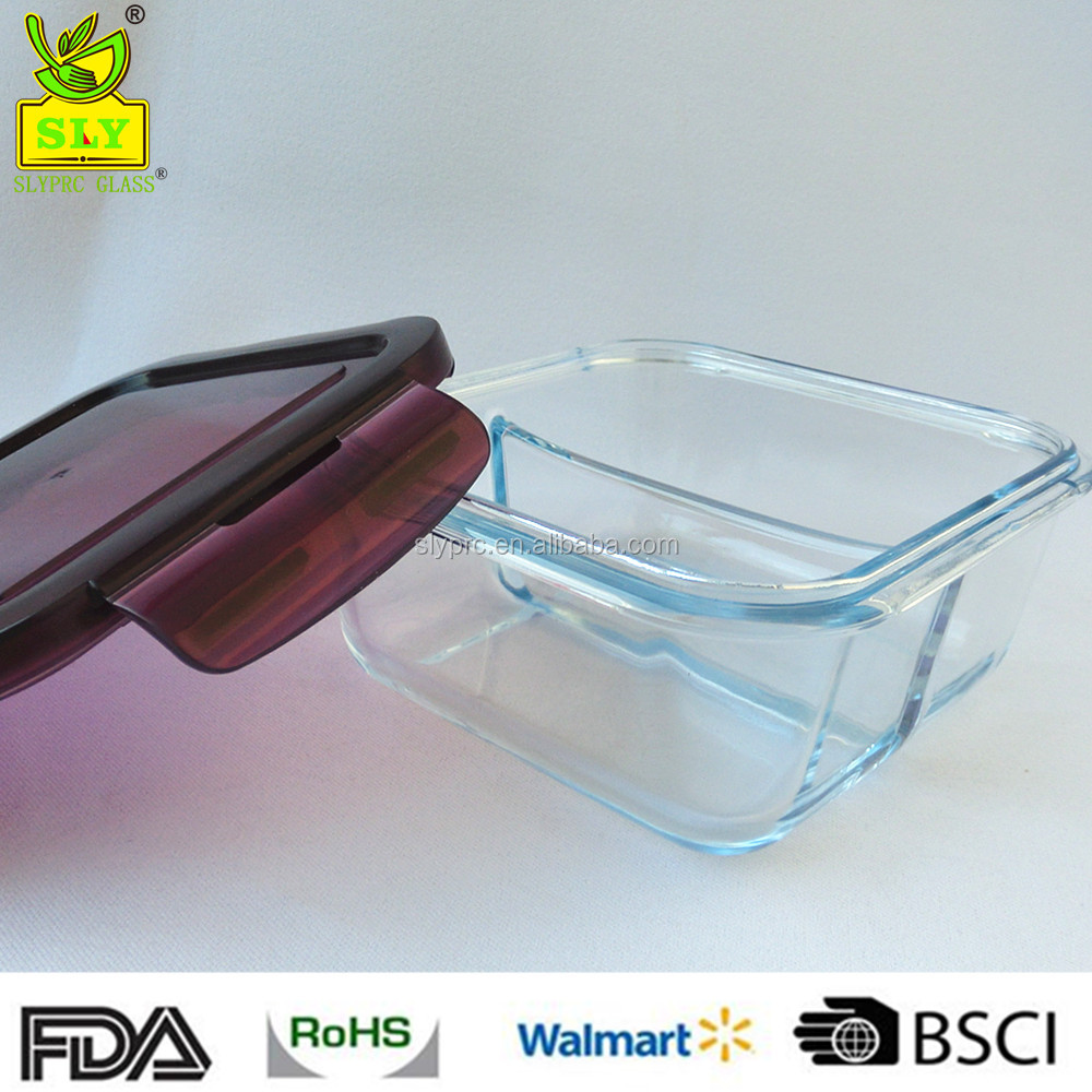 Square Glass Food Container With Divider2 Compartments Glass 2