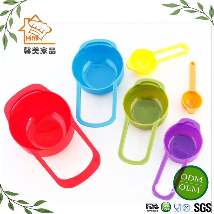 HIMI Colorful 6Pcs Measuring Cups and Spoons Set Plastic Measuring Tea Coffee Spoons In Various Sizes Measuring Scoop Set