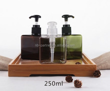 Wholesale 250ml empty clear square plastic pet foaming hand washing soap pump bottles