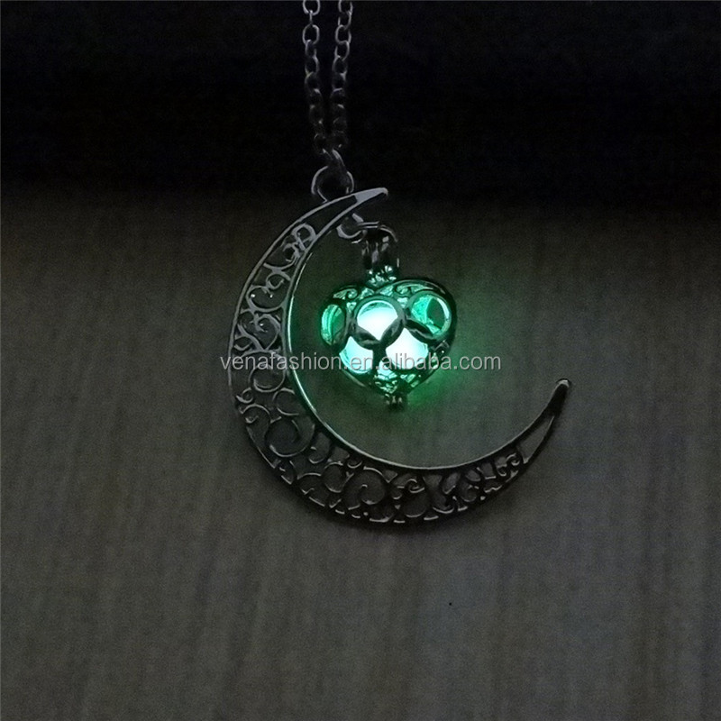 moon glowing in the night heart glow dark necklace