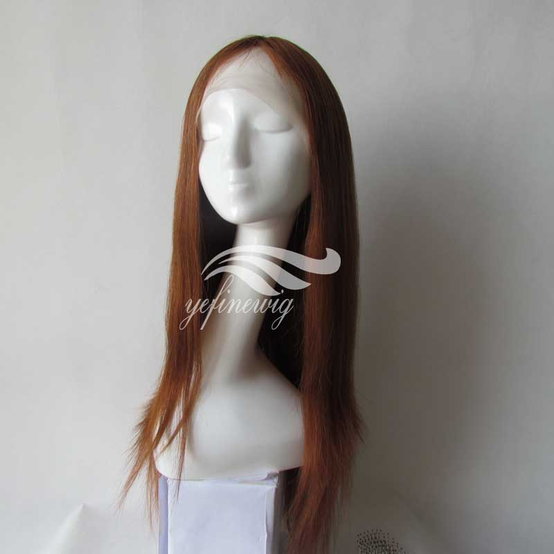 Factory Price Virgin Mongolian Red Human Hair Jewish Wig Lace Front