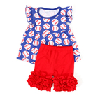 Kid clothes flutter sleeve print top with red ruffle short summer girl clothing baby girl baseball outfit