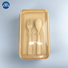 Best Quality 1000ML Wheat Lunch Bento Box Biodegradable Wheat Straw Cutlery Set With 2 Compartment