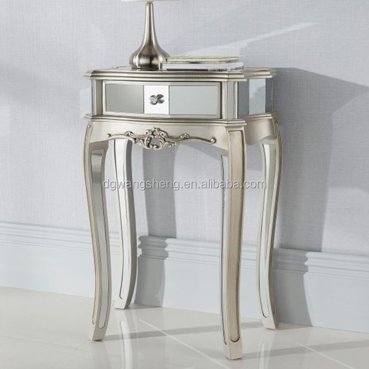 Argente Espejo Lámpara Mesita Plata Elegante Glam Muebles Mesita De ...
