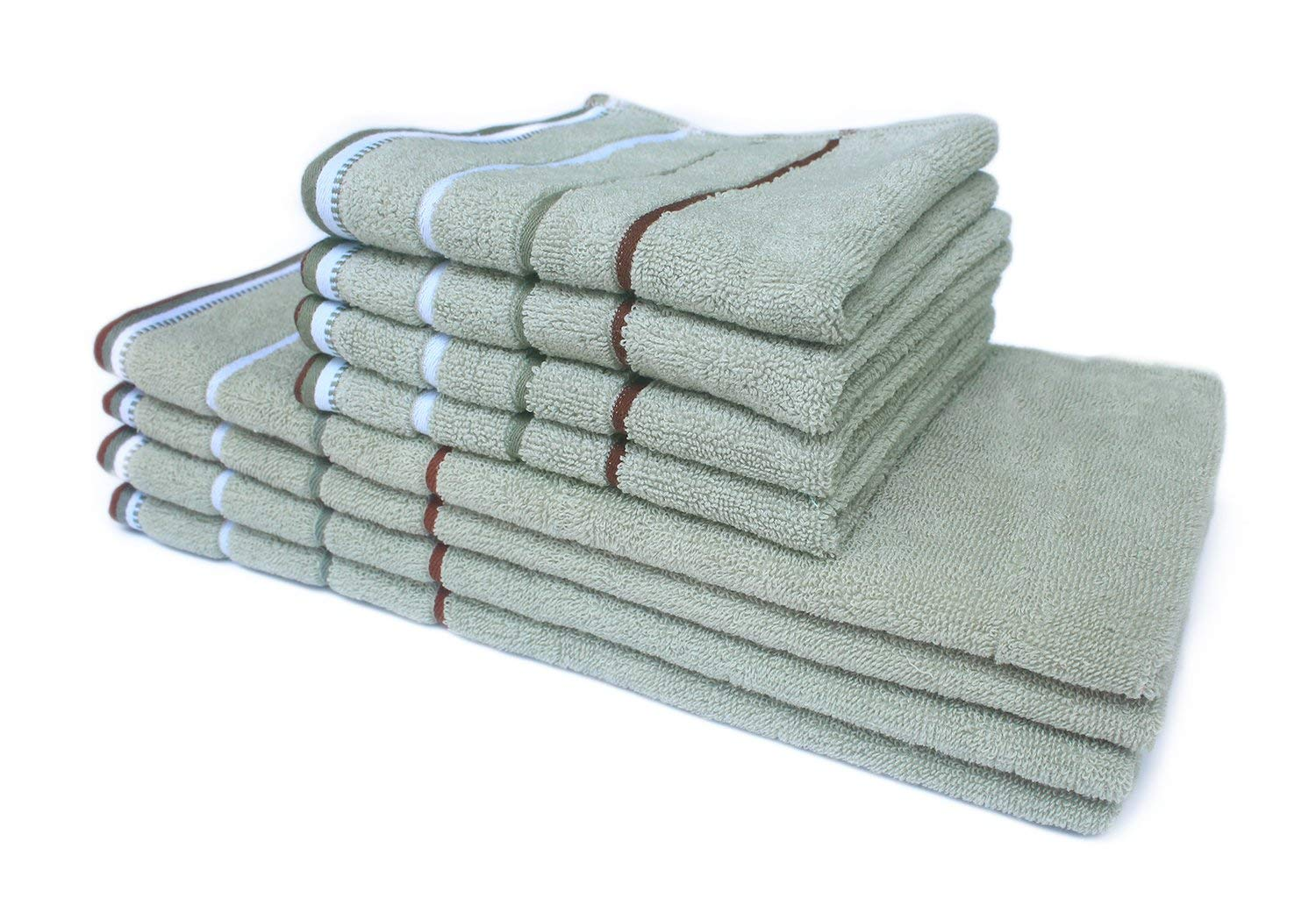 """Honla 8-Piece Cotton Hand Towels and Washcloths Set with Striped Pattern,4 Face Towels and 4 Wash Cloths,28""""x13"""" & 13""""x13"""",High Absorbent,Sage Green"""