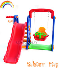China manufacturer typical popular indoor plastic item cheap baby slide and swing