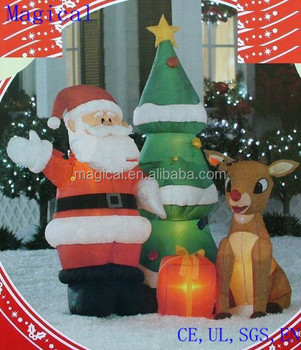santa and rudolph with tree christmas inflatable - Christmas Inflatables Cheap