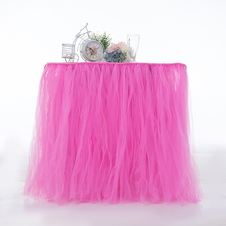 Customize Wedding Tutu Table Skirt Tulle Mesh Desk Cover Kids Birthday Christmas Festival Party Decorating