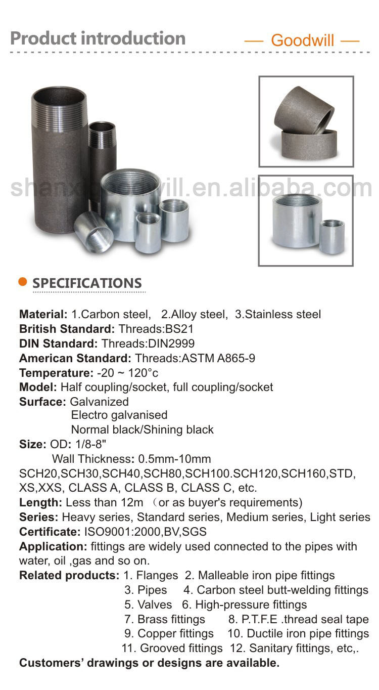UK Carbon steel welding Threaded socket Male & Female Couplings