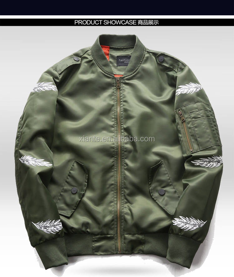 High Quality New Fashion Men Cheap Custom Bomber Jacket Waterproof MA1 Jacket For Wholesale