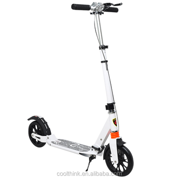 Big 200mm Wheel Adult White Color Two Wheel Kick Scooter