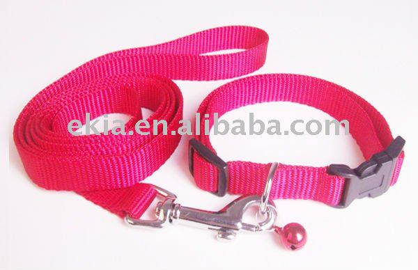 Nice nylon red dog collar and leash with jewelary accessories