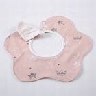 100% cotton 360 rotate washable waterproof pink crown star pattern print baby bandana vintage bibs bulk India in stock