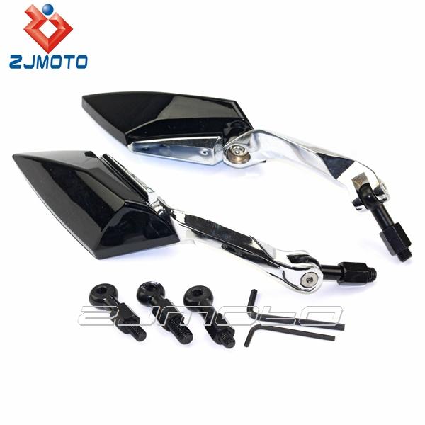 Черный универсальный алмазный мотоциклов мотор заднего заднего вида зеркала 8 мм 10 мм ZJMOTO