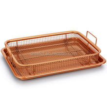 Non-stick Ceramic grill pan and grill basket set copper crisper