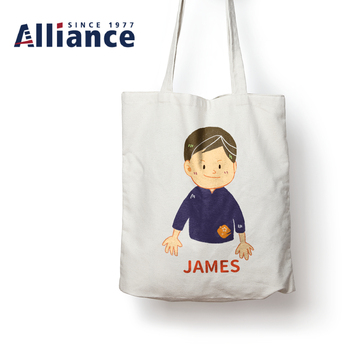 Wholesale Vivid Illustration Customized Cotton Canvas Tote Shopping Bag
