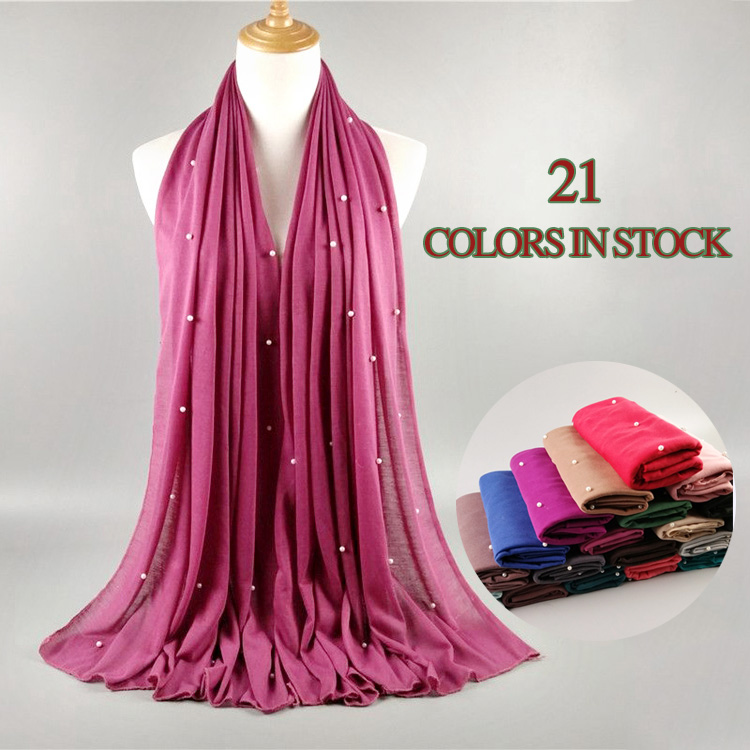 Most popular solid color stylish muslim women beads hijab shawl dubai pearl jersey hijab