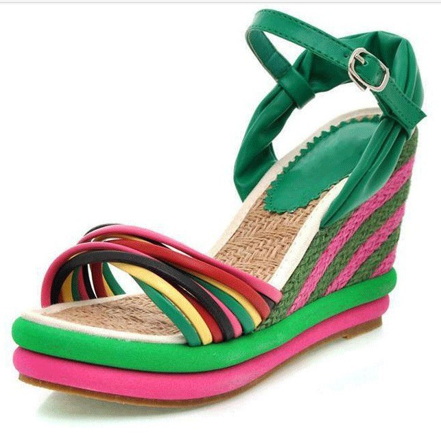 db4a7a096e Get Quotations · 2015 New fashion sandals wedges shoes for women high heels  platform sandals color block decoration straw