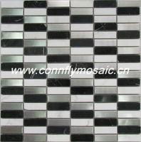 Metal Blending Black and White Marble Mosaic Floor Tile