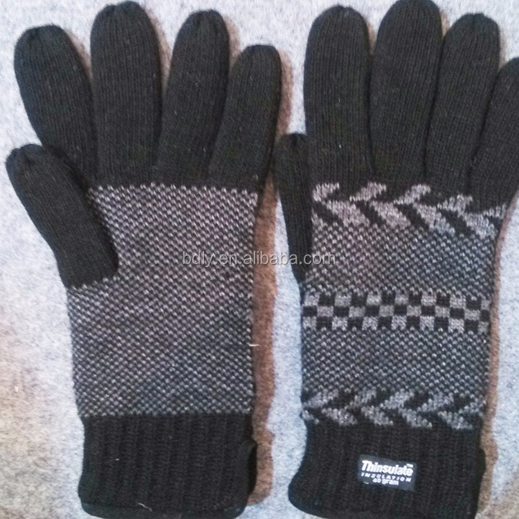 Thinsulate Lining 100% Acrylic Men's Winter Knitted Gloves