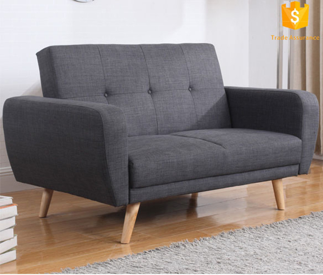 Brief Style Upholstered Fabric Folding Chair Sofa Bed With Adjustable Headrest, Home Loveseat