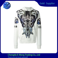 100% Cotton French Terry Fabric Full Print Mens Casual Soft Pullover Hoodie