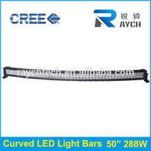 4x4 curvo led light bar 50 pollici 288w, barra luminosa a led curva