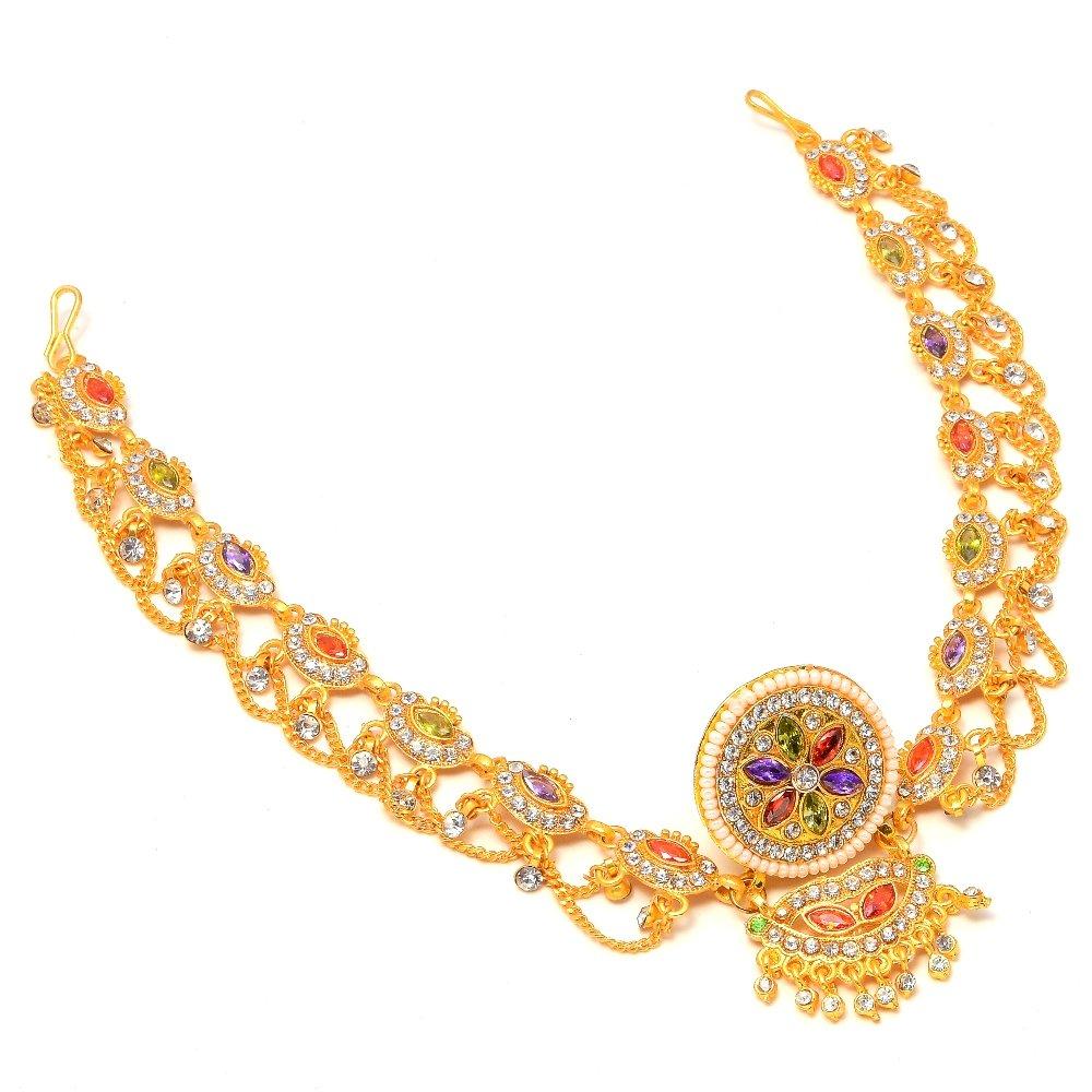 bd57c8adee Jewar Multi-Colour Gram Gold Plated Tika Borla Kundan Ad Cz Multi-Gemstones  Pearl Polki 7740 For Womens Girls