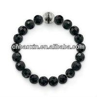 Popular black obsidian beads bracelet