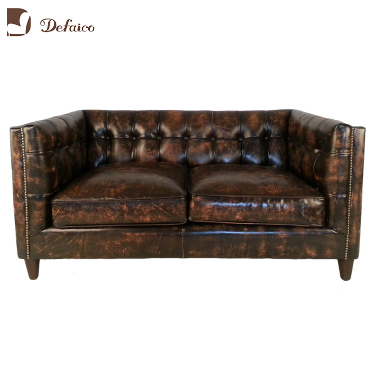 Vintage On Stud Distressed Leather Sofa For Livingroom Chocolate Chesterfield Couch Nailhead Keaton