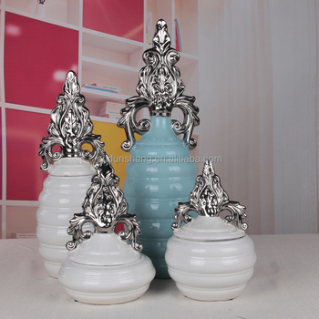 Whole 4 Pieces Ceramic Blue Tall Decorative Flower Lidded Strage Jars Canister For