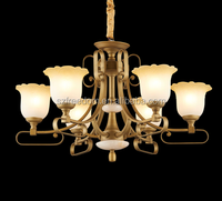 American style energy saving light source chrome color with classic glass lamp shade chandelier lighting for church