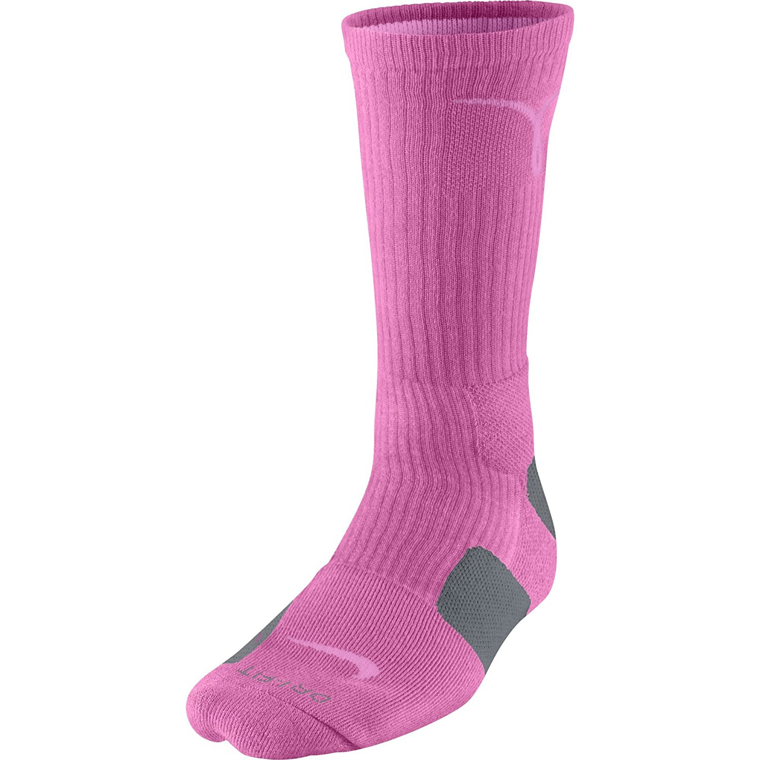 reputable site eb808 1d3fb Get Quotations · Nike Kay Yow Elite Crew Basketball Socks Pink Grey Size  Socks Large 8-12