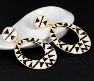 Fashion Geometric patterns Oild Painted African Gold Earring