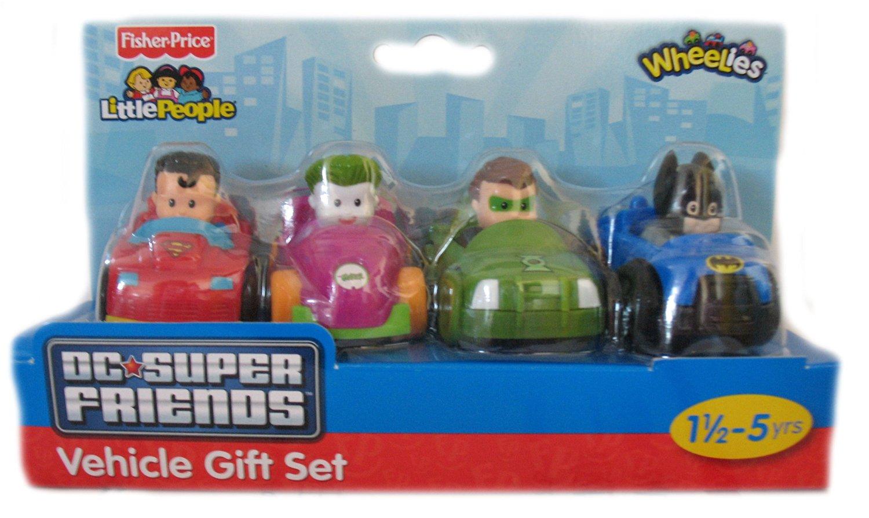 Fisher Price Little People DC Super Friends Wheelies 4 Vehicle Gift Set